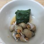 バイ貝の煮付け 冬菜添え